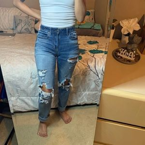 American Eagle distressed high rise mom jeans